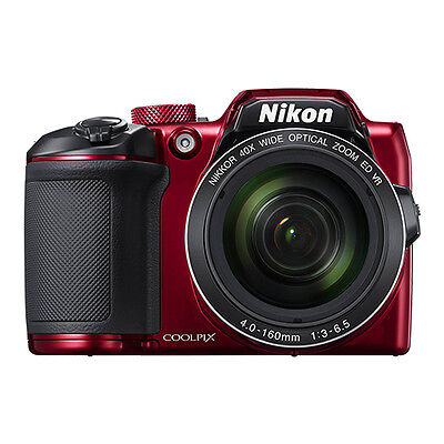 Nikon Coolpix B500 16MP Digital Camera 40x Optical Zoom Red Full-HD WiFi/ NFC