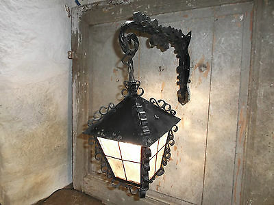 French vintage wall light lantern wrought iron glass c.1950 - 60 hanging arm