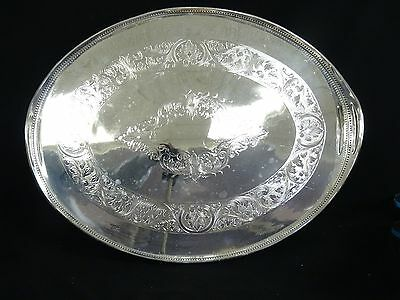 "Gorgeous Large 23"" Vintage Sheffield 1528 Chased Silver Plated Oval Gallery Tray"