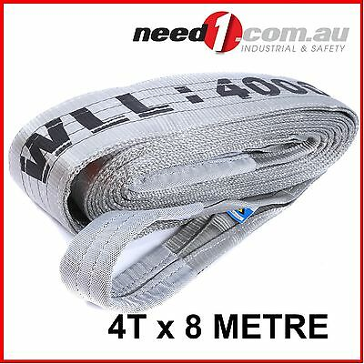LIFT SAFE 4T x 8M Flat Lifting Sling 100% Polyester c/w Test Certificate