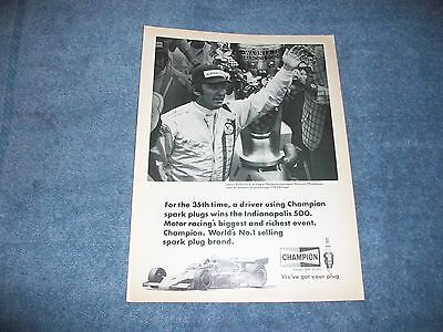1974 Johnny Rutherford Indy 500 Winner Champion Spark Plugs Ad