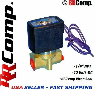 "1/4"" NPT 12-VOLT DC Brass Electric Solenoid Valve, Seal NBR: Air, Water, Oil N/C"