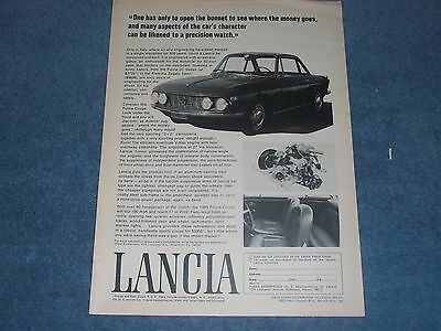 """1967 Lancia Fulvia Coupe Vintage Ad """"One Has Only to Open the Bonnett To See..."""""""