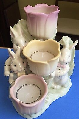 Lenox Occasions Bunny Tulip Votive Candle Holder Easter Ceramic