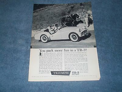 """1960 Triumph TR-3 Vintage Ad """"You Pack More Fun in a TR-3"""""""