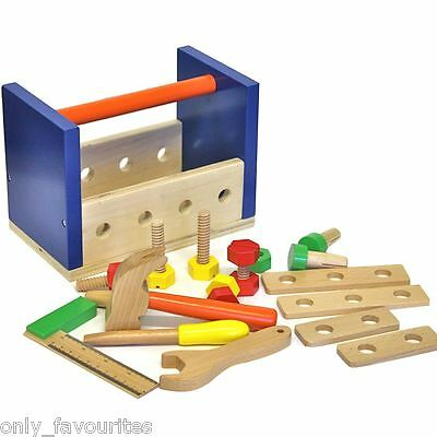 Discoveroo Wooden Toy Tool Box That Converts to a Tool Bench, Children Tool Set