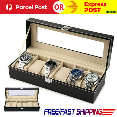 6 Grid Slots Jewelry Watches Display Storage Collection Box Case Watch AU