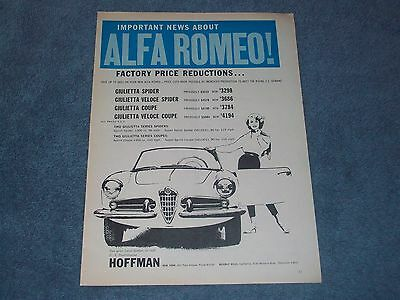 "1958 Alfa Romeo Vintage Ad ""Factory Price Reductions.."" Giulietta Spider & Coupe"