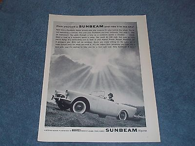 """1961 Sunbeam Alpine Vintage Ad """"Pick Yourself A Sunbeam and Ride it to the Sky"""""""