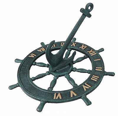 Garden Sundial Cast Iron Ships Wheel and Anchor Ornament Gift Feature