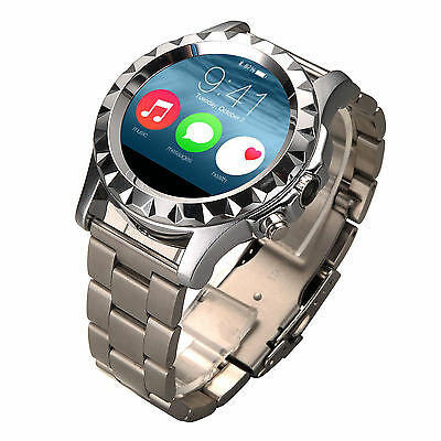 S2 Smart Watch Bluetooth Mate Heart Rate Dustproof Silver+Steel For iOS Android