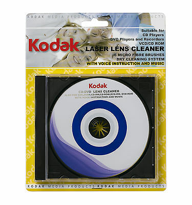 Kodak DVD / CD Laser Lens Cleaner Disc, 6 Micro Fibre Brushes, Voice+Music