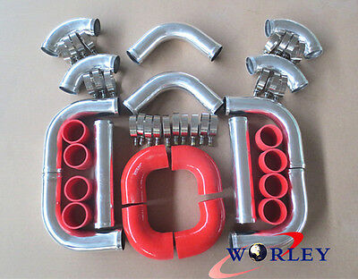 "FOR 2.5"" 64mm UNIVERSAL RED 8 PIECE ALLOY ALUMINIUM TURBO INTERCOOLER PIPE KIT"