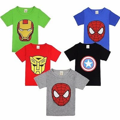 Spiderman Captain Kids Toddler Baby Boys Short Sleeves t Shirts Tee Tops Age 2-7