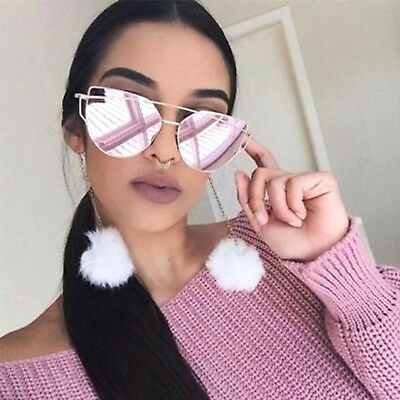 Large Oversized Cat Eye Sunglasses Flat Mirrored Lens Metal Frame Women Fashion