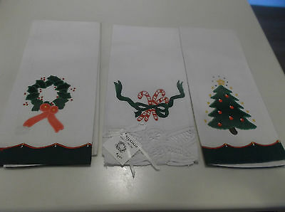 3 Different Cotton Embroidered Christmas Hand Towels-Euc