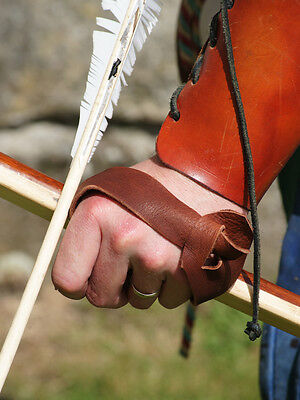 Re enactment-LARP-Tudor-Archer-Longbow-Leather BOW HAND PROTECTOR Hand Guard