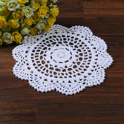 Pure Cotton Yarn Hand Crochet Lace Doily Placemat Round 20CM White