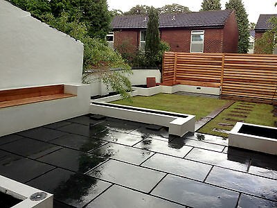 BLACK LIMESTONE Natural Indian 840x560mm Patio Paving Slabs. [sandstone slate]