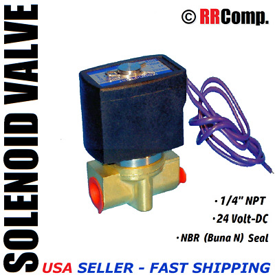 "1/4"" NPT 24-VOLT DC Brass Electric Solenoid Valve, Seal NBR: Air, Water, Oil N/C"