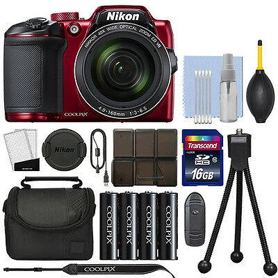 Nikon Coolpix B500 16MP Digital Camera 40x Optical Zoom Red Full-HD + 16GB Kit