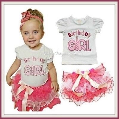 New Pink Girl Baby Birthday Outfit Occasion Party Top Tutu Skirt Kids Clothes UK