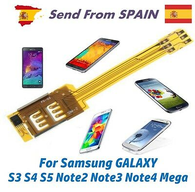 Dual SIM Card Adapter for Samsung Galaxy S3 S4 S5 Note2 Note3 Note4 Mega