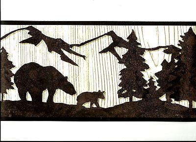 Black Bears In Silhouette On Woodgrain Background Wallpaper Border Wt1136B