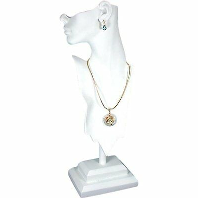 """White Mannequin Necklace Bust Jewelry Display 20"""" New"""