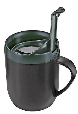 Zyliss Cafetiere Hot Mug One Cup Coffee Double Walled Splash Lid Grey Smart Cafe
