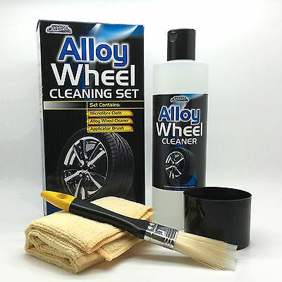 Car Pride Alloy Wheel Cleaning Cleaner Kit Set Applicator Brush Microfibre Cloth