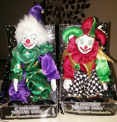 "2 12"" Collectible Hand Painted Porcelain Clown Dolls!"