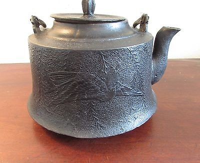 Antique Japanese Tetsubin cast iron kettle teapot with phoenix signed