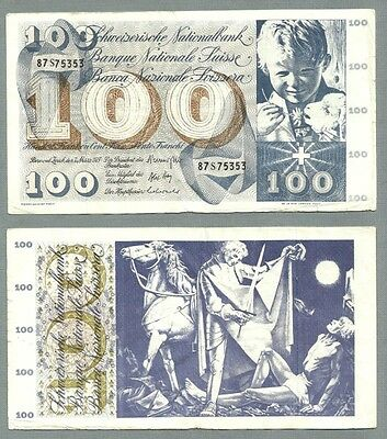 SWITZERLAND P-49o 100 FRANCS 1973 SIGNATURE 43 CIRCULATED S/N 87S75353