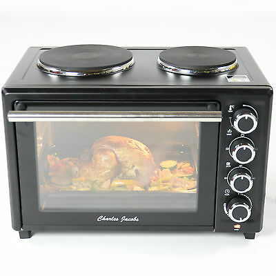 33L 1600W Mini OVEN Grill w/ DOUBLE HOBS BLACK Caravan Charles Jacobs