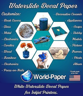 "WHITE INKJET Waterslide Decal Paper, 8.5"" x 11""  1 Sheet"