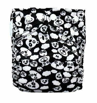 Charlie Banana 2-in-1 Reusable Cloth Diaper w/ 2 Inserts BlackBeary One Size
