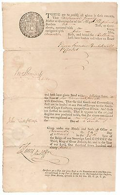 Bermuda 1795 Shipping Document, for items on Sloop to Baltimore