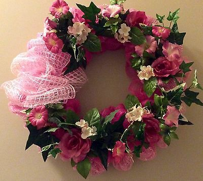 Pink on Pink Deco Mesh Wreath
