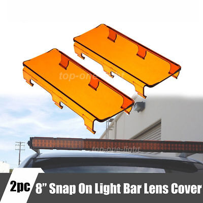 """2PCS 8""""Inch Amber Covers Protect Lens for Offroad LED Light Bar 8"""" 16"""" 48W 96W"""