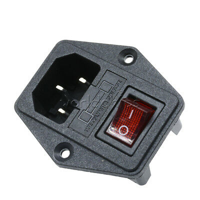 Black Red AC 250V 10A 3 Terminal Power Socket with Fuse Holder New