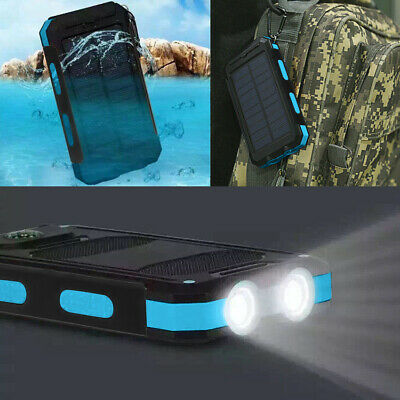 US Waterproof 500000mAh 2 USB Portable Solar Battery Charger Solar Power Bank KO