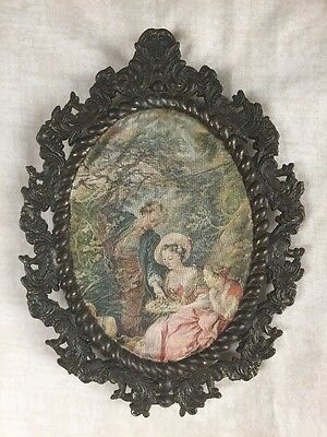 VINTAGE METAL ORNATE PICTURE FRAME ITALY-Oval & W FABRIC Portrait