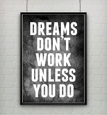 motivational inspirational dreams work gym fitness workout quote poster picture
