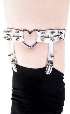 Gothic Goth Punk Faux Leather Spike Heart Garter White Burlesque