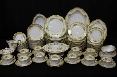 92pc Vintage Noritake Yellow/Tan Scroll Floral China, 7pc Service for 12, Japan