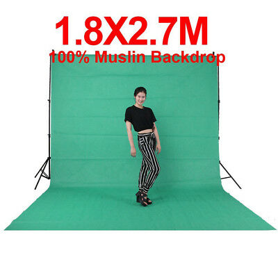 6ft x 9ft Chromakey Green Screen Muslin Backdrop Photo Photography Background