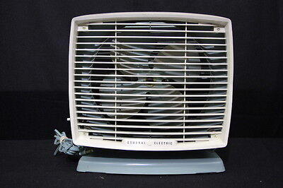 Vintage GE General Electric TEAL #F12A2 Industrial 4-Blade 2-Speed Box Fan, USA