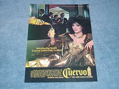 1986 Jose Cuervo Gold Tequila Vintage Ad with Actress Joan Collins