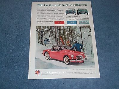 "1961 MG Sprite Austin Healey Vintage Color Ad ""BMC has the Inside Track..."""